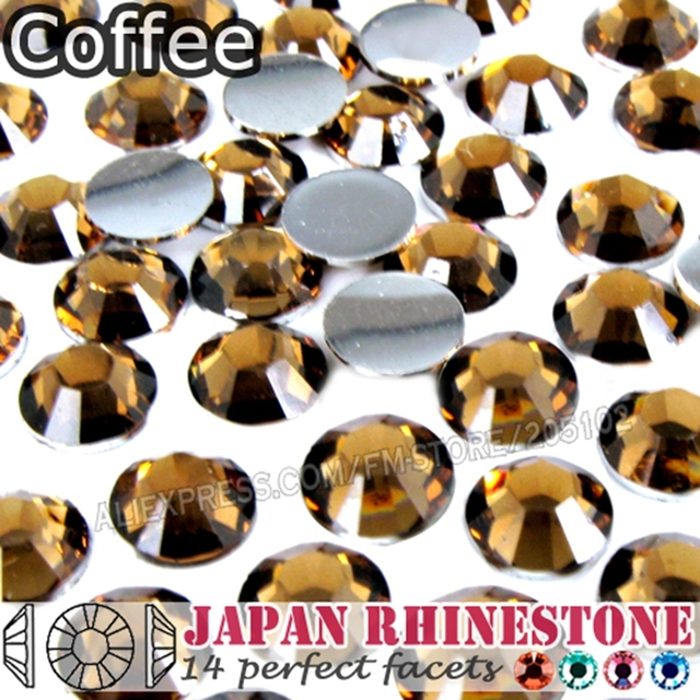 Coffee Nail Crystals Rhinestones SS6 SS8 SS12 SS16 SS20 SS30 Resin Non Hotfix Flat Back stones glitters for Glue on DIY Art