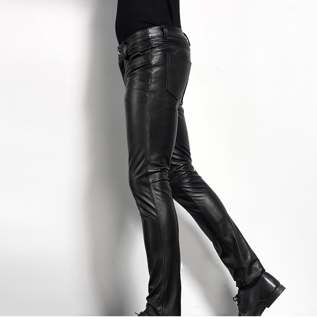 Men's Leather Pant Biker Pants Motorcycle Punk Rock Pants Tight Gothic Leather Pants  Slick Smooth Shiny Trousers Sexiest TJ01 1