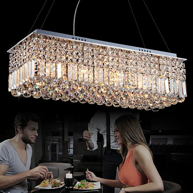 Image 2 - LED Modern Rectangular Crystal Chandelier Light Pendant Lamp Hanging Lamp for Living Room Dining Room Restaurant Decoration-in Ceiling Lights from Lights & Lighting