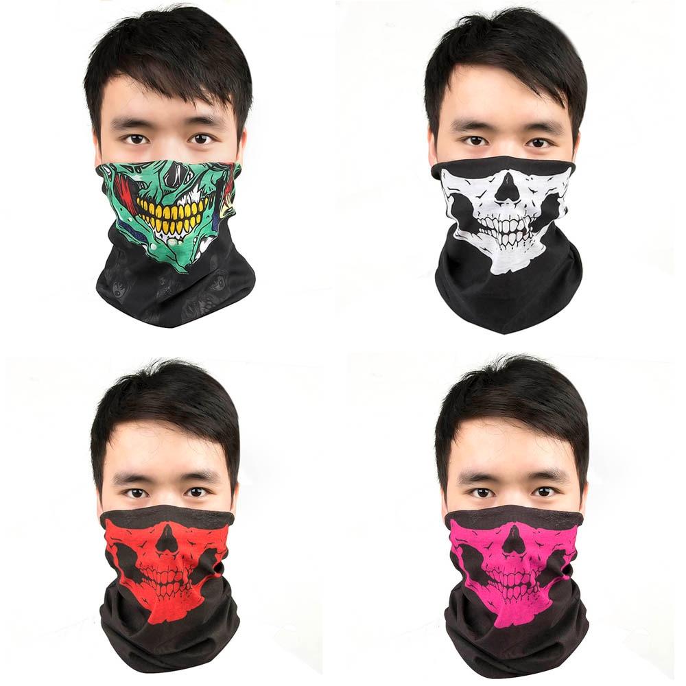Heinmo 3D Scary Skull Masks Skeleton Easter Motorcycle Bicycle Riding Headwear Scarf Half Face Mask Terror Cap Windproof Anti-UV Neck Ghost Magic Head Bandana