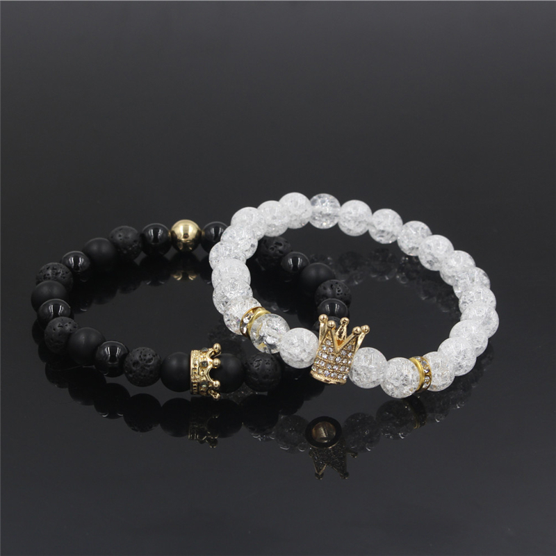 New 2Pc/Sets Natural 8/6mm Stone Beads Couple Bracelets for Women Micro Pave CZ Crown Charms Bracelet Men Jewelry Pulseras Mujer 8