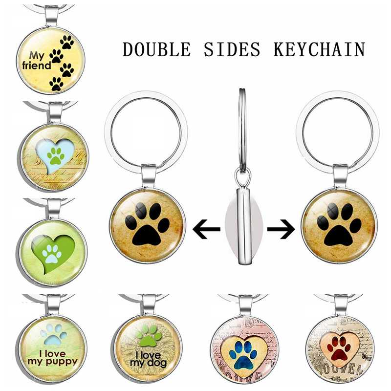 Dog Paw Keychain Double Side Glass Cabochon Pendant Metal Key Chain Fashion Accessories Handmade Gift for Women for Dog Lovers
