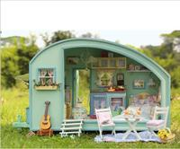 Time Travel DIY 3D Dollhouse Kit Miniature Scenes With Music And Light Wood RV Puzzle Model