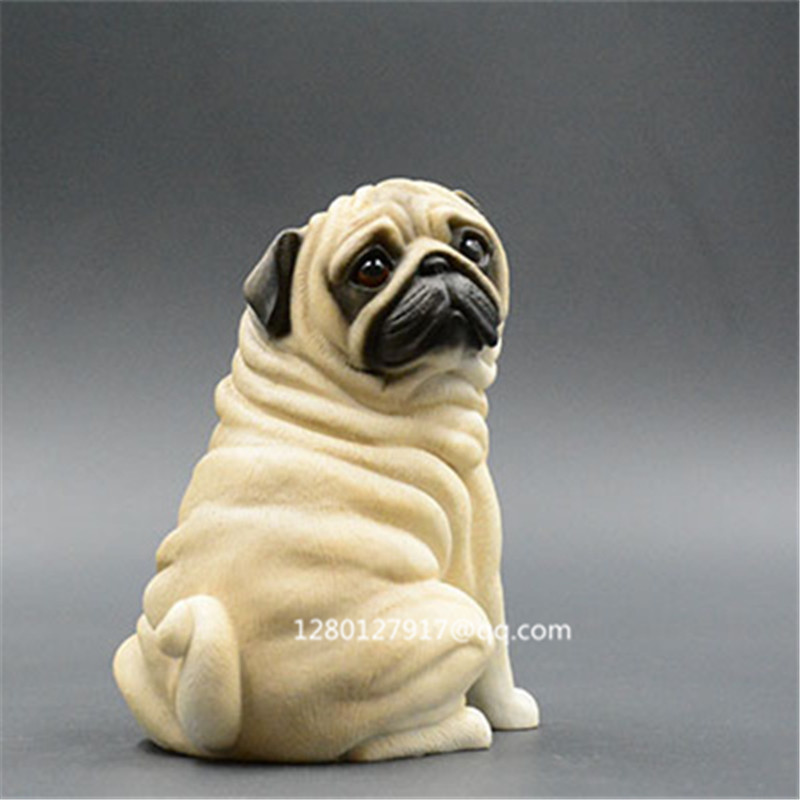 New pug puppy dog animal figurine statue home decoration collectible gift