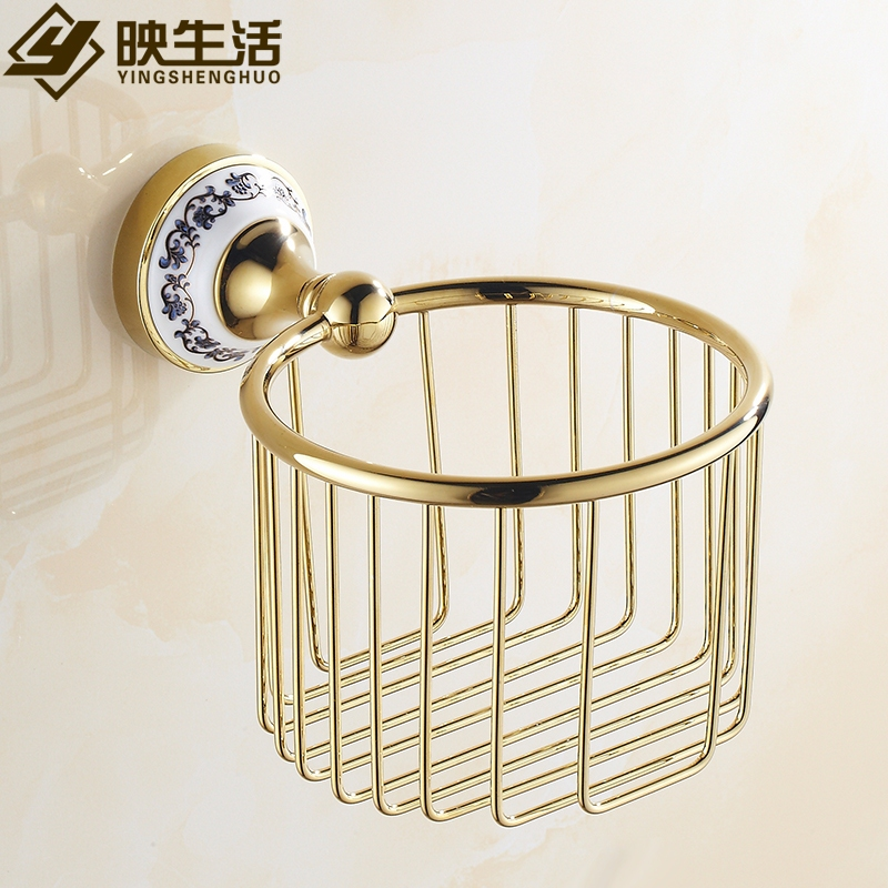 ФОТО Fashion tissue basket gold toilet paper basket copper gold plated bathroom tissue box blue and white porcelain toilet paper box