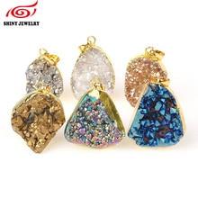 Raw Crystal Quartz Druzy Pendant Gold Electroplated Irregular Druzy Geode Stone Pendant Bead for DIY Jewelry Necklace Making