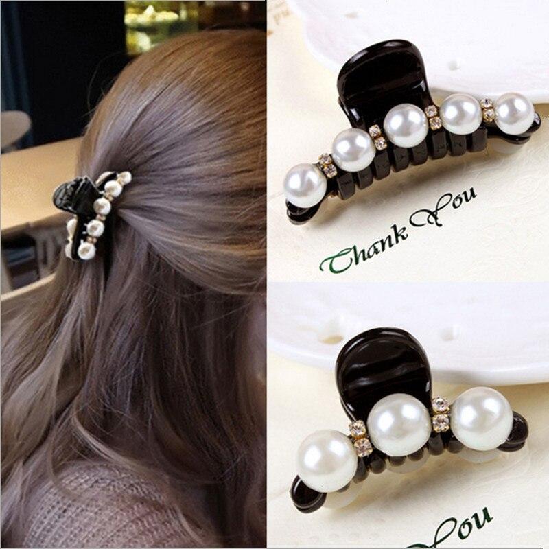 2 pcs mode coréenne cheveux griffes accessoires de cheveux des femmes  cheveux Clip strass perles Barrettes 09b27cc5579