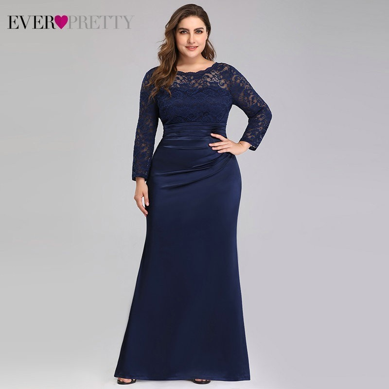 Plus Size Evening Dresses Long Ever Pretty EP07584NB Elegant Lace Long Sleeve Mermaid Formal Party Gowns