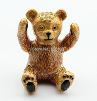 Tiny Cute Bear Trinket Gifts Box With Czech Crystals Decro