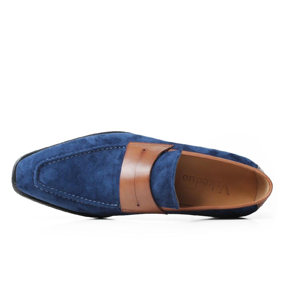 VIKEDUO Elegant Men's Loafer Shoes Genuine Leather Handmade Wedding Footwear Mans Casual Suede Shoes Sllip On Zapato de Hombre - 3