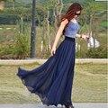 2015 Verano Una Línea de Vestidos de Mujer Femenina de La Gasa de Color Natural Simple Falda Mujeres Falda Larga hasta el Suelo Con Volantes