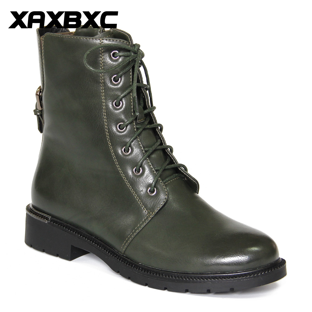 XAXBXC Retro British Style Leather Brogues Oxfords Green Short Boot Women Shoes Metal Buckle Round Toe Handmade Casual Lady Shoe xaxbxc 2017 retro british autumn black pumps pu leather brogue shallow lace up oxfords women shoes handmade casual lady shoes