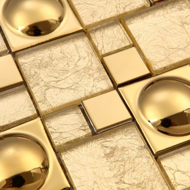 Magic pattern Gold Glass Kitchen Backsplash tiles Ideas Bathroom ...