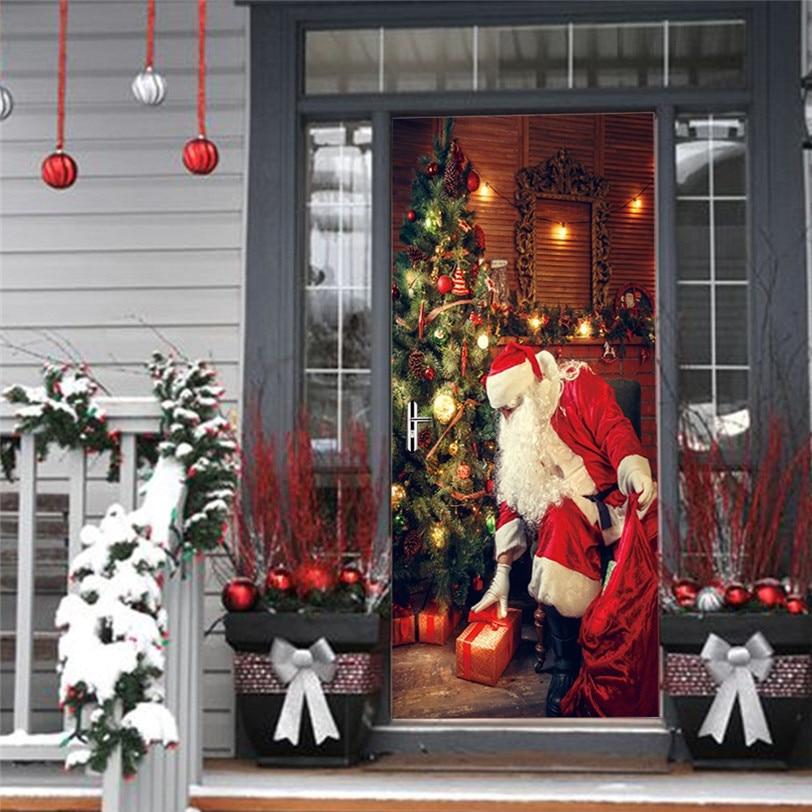 Christmas Santa Claus Door Sticker 3D DIY Wall Decal For ...