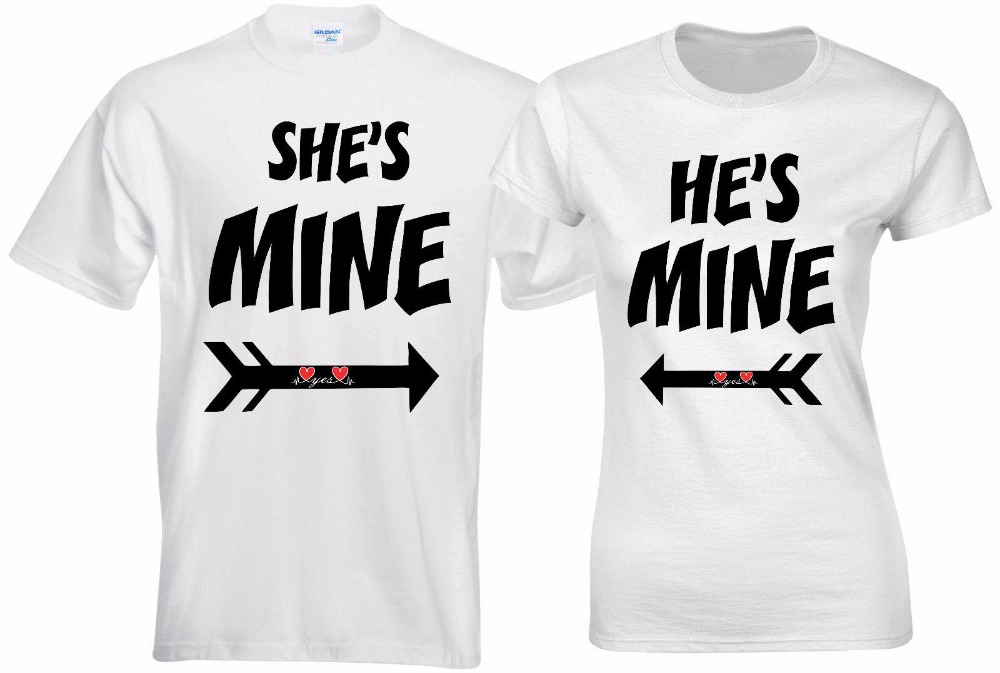 Summer Men Fashion T-Shirt Men Clothing She Is Mine He Is Mine Yes Love