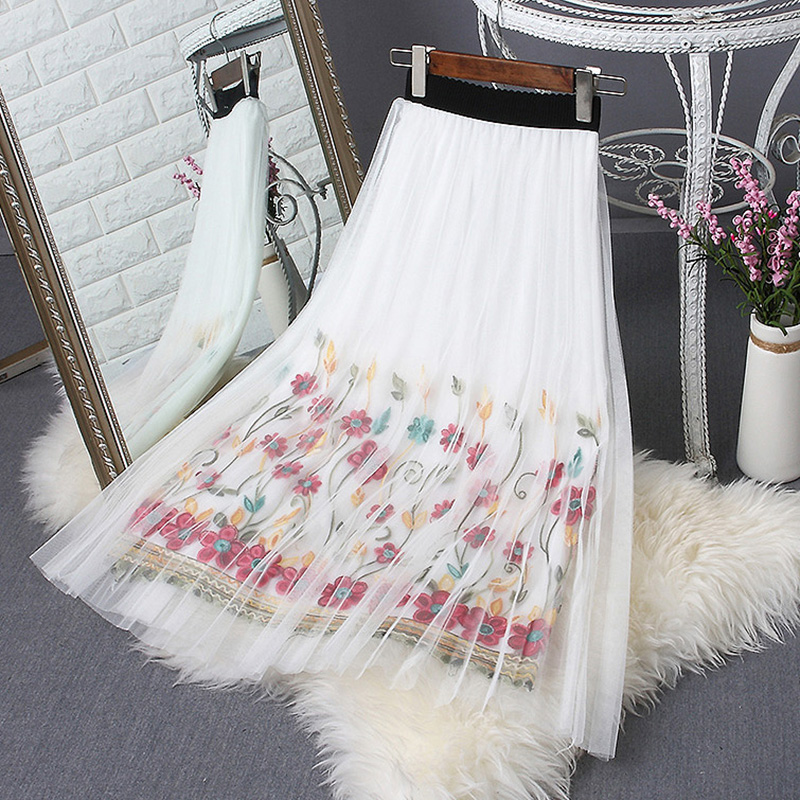 Fashion 2017 New Summer Women Japanese Sweet Elastic font b Waist b font Embroidery Flowers Gauze
