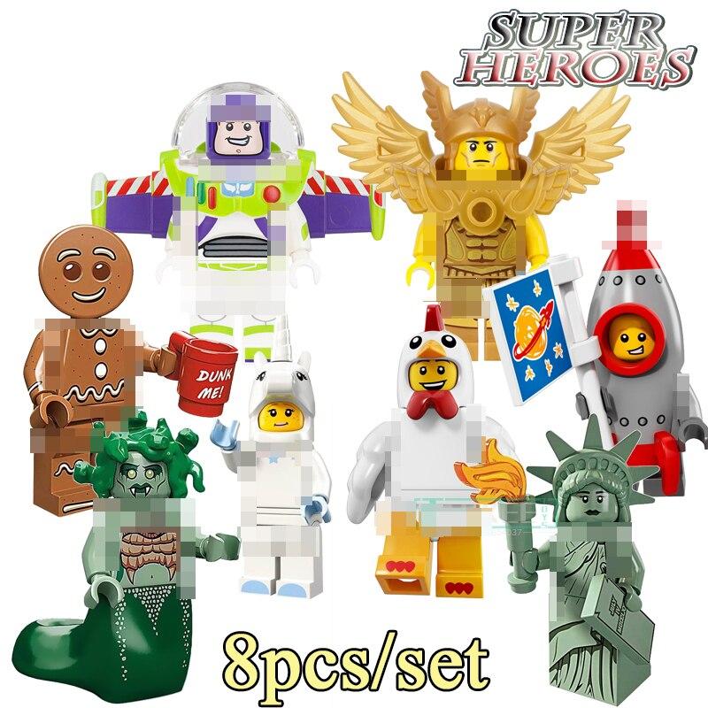 8pcs/set Gingerbread Man Rocket Boy Chicken Suit Unicorn Girl Medusa Inhumans Royal Family Building Blocks children Toys PG8061