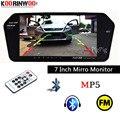 Koorinwoo de alta resolución de 1024x600 7 TFT LCD Monitor retrovisor espejo TF USB Bluetooth MP5 coche Monitor de aparcamiento inversa prioridad