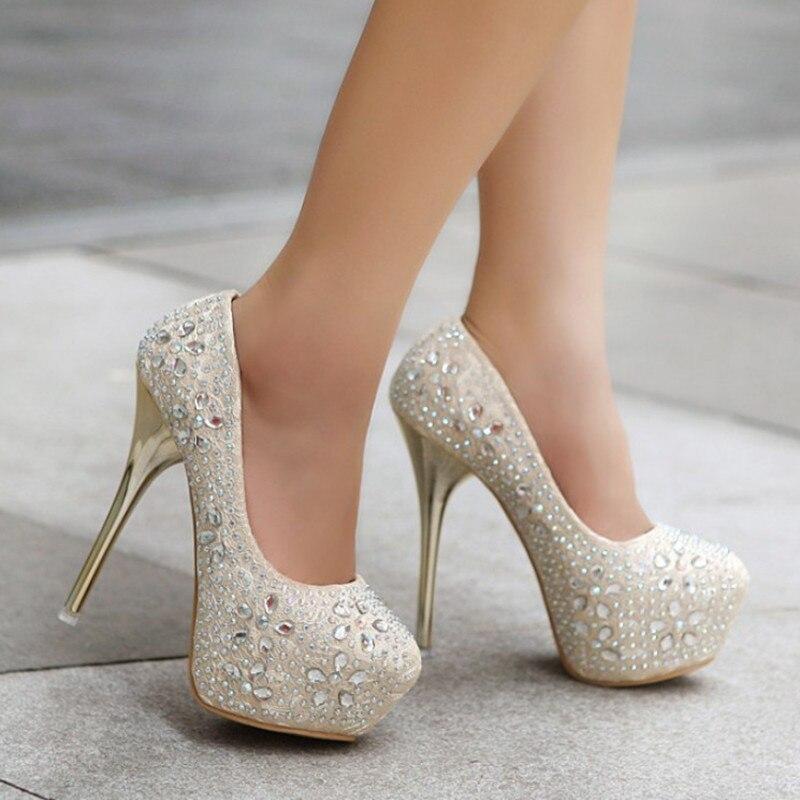 Stiletto Kleid Ferse Mit Frau Damen Kristall Heels black Apricot Schuhe Frauen Für Hochzeit High Plattform Sexy red Strass 464Yq0