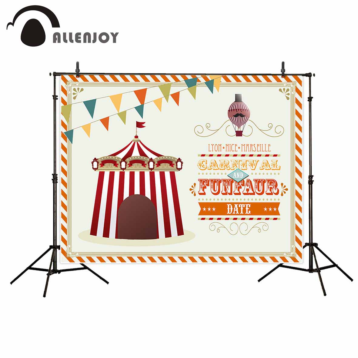 Allenjoy photographic background Banner Circus Creative Children Custom Birthday fantasy backdrop photography photocall props allenjoy christmas photography backdrop wooden fireplace xmas sock gift children s photocall photographic customize festive