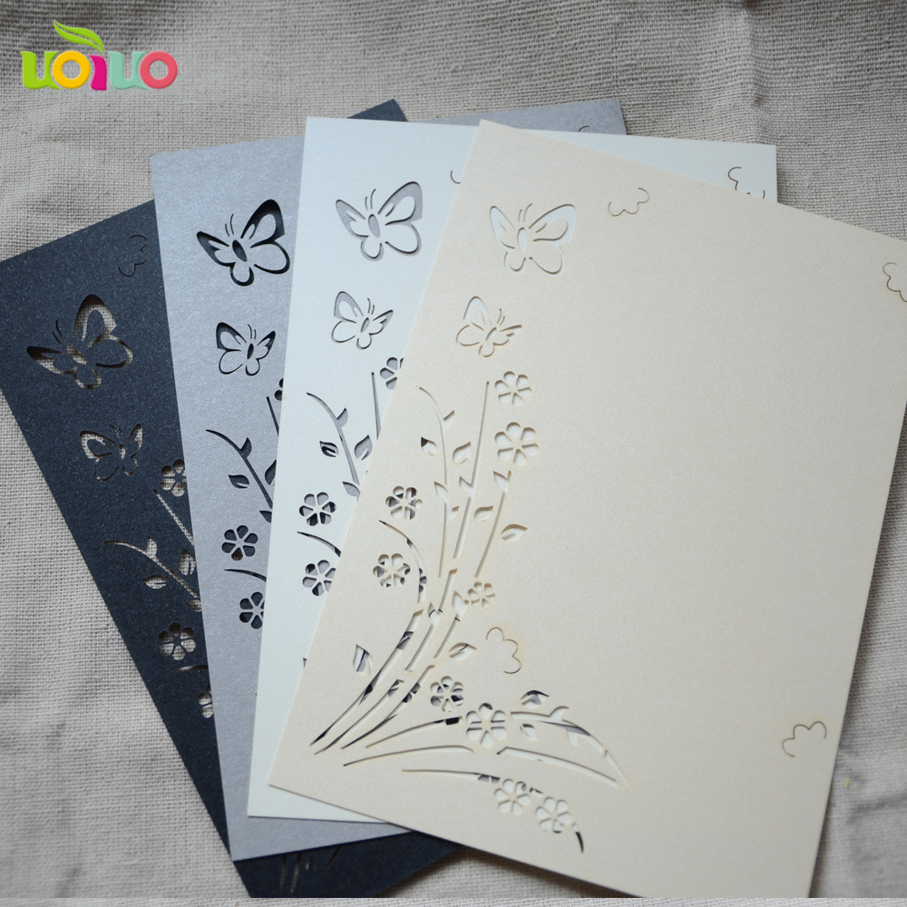 Cheap price wedding invitation card 50sets with envelops laser cut ...