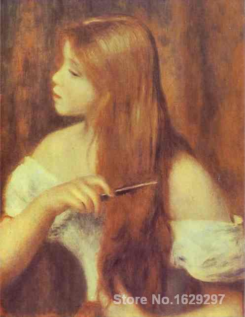 photo to canvas oil painting Pierre Auguste Renoir Handmade wall art Young Girl Combing Her Hair High qualityphoto to canvas oil painting Pierre Auguste Renoir Handmade wall art Young Girl Combing Her Hair High quality