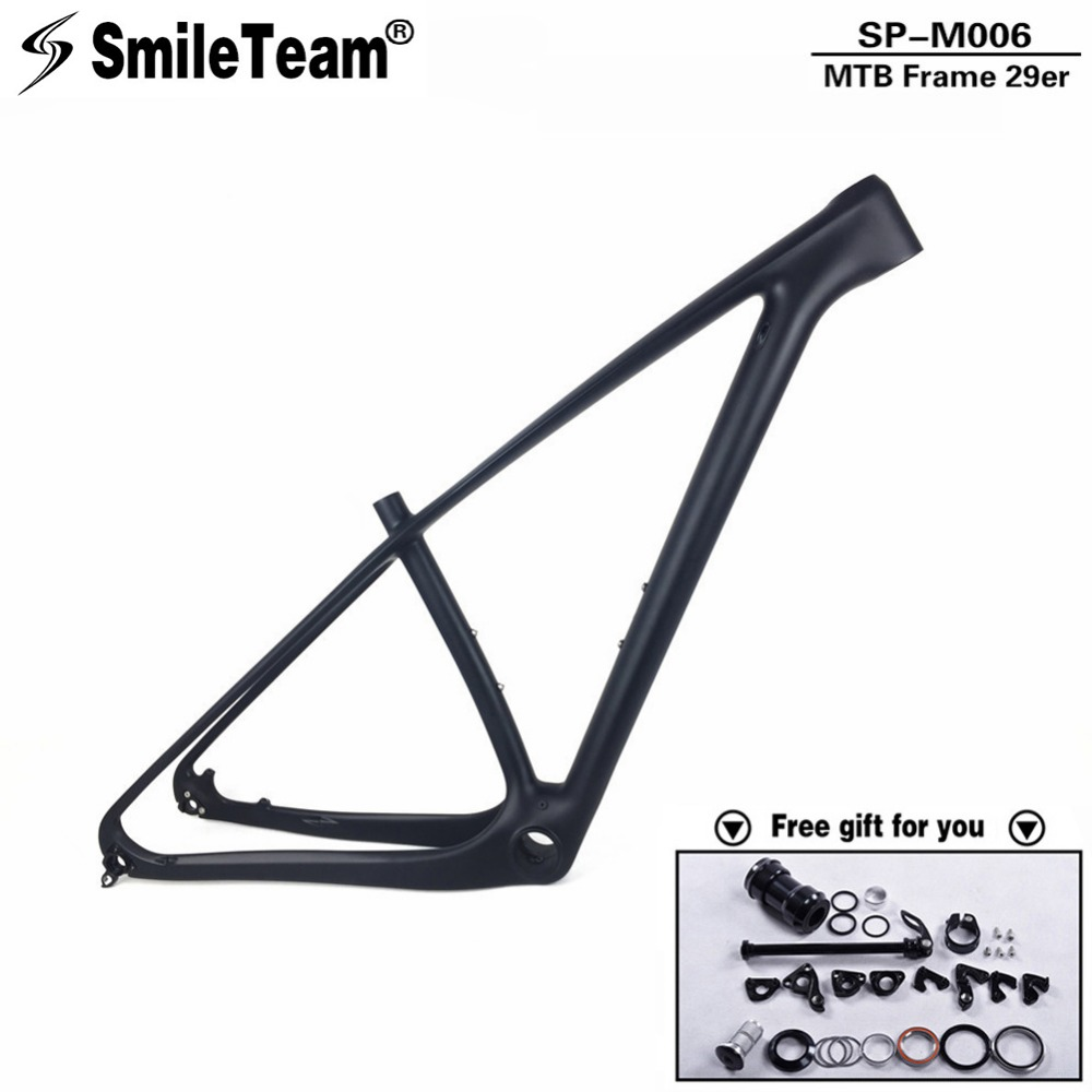 SmileTeam 29er Carbon MTB Frame Mountain Bike Carbon frame 29er/650B MTB Carbon bike frame Bicycle MTB Carbon Frame 15/17/19'' track frame fixed gear frame bsa carbon 1 1 2to 1 1 8 bike frameset with fork seatpost road carbon frames fixed gear frameset