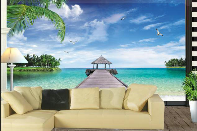 Papel pintado paisajes de playas palm beach papel tapiz mural mural de la pared papel papel de - Papel pintado paisajes ...