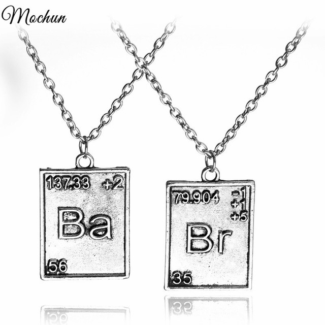 Vintage Jewelry Breaking Bad Necklace Chemical Symbol Br Ba Pendant