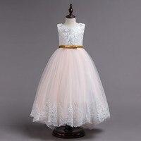 Baby Girls Sleeveless Flower Floral Sequin Dress Lace Dresses Formal fashion wedding dress girl long robe bebe fille #4
