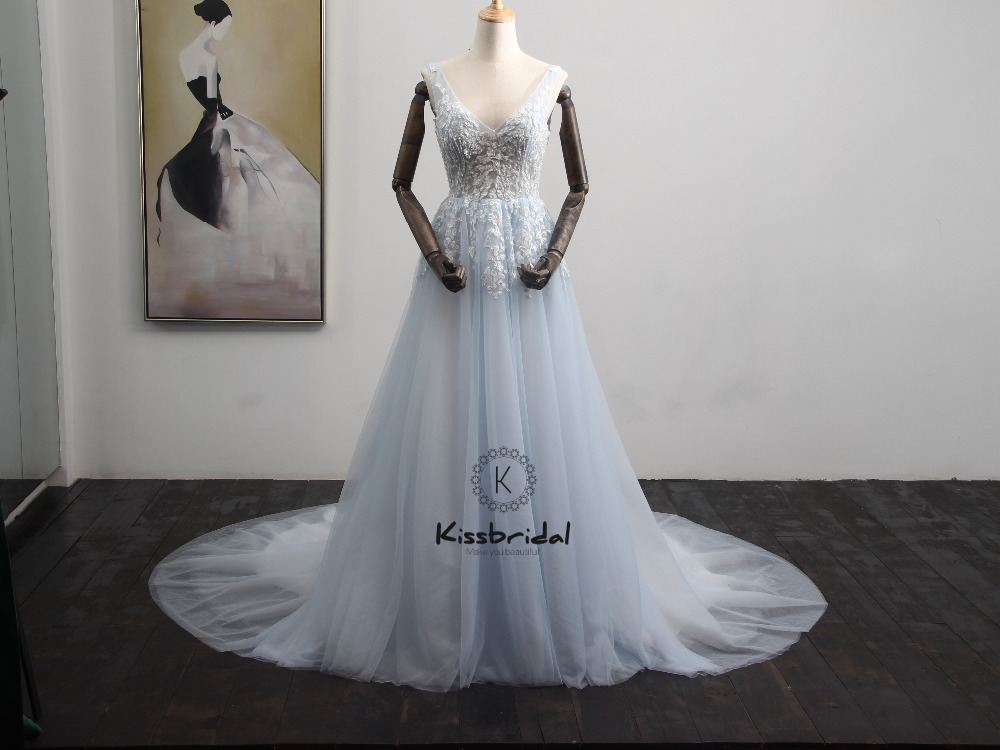 Romantic Light Blue Wedding Dress Summer Style Elegant