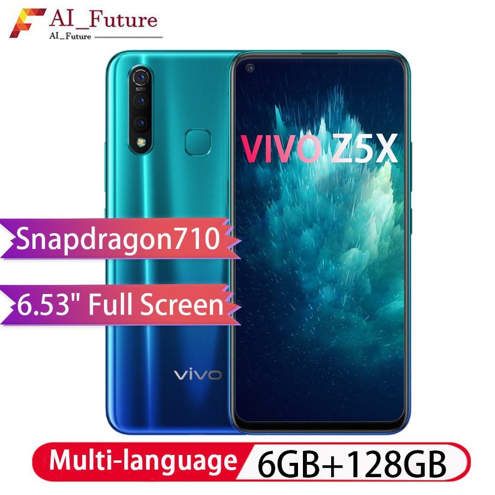 ROM globale d'origine VIVO Z5x 6 GB 128 GB snapdragon 710 Octa Core Android9 Smartphone 5000 mAh grande batterie téléphone de reconnaissance de visage