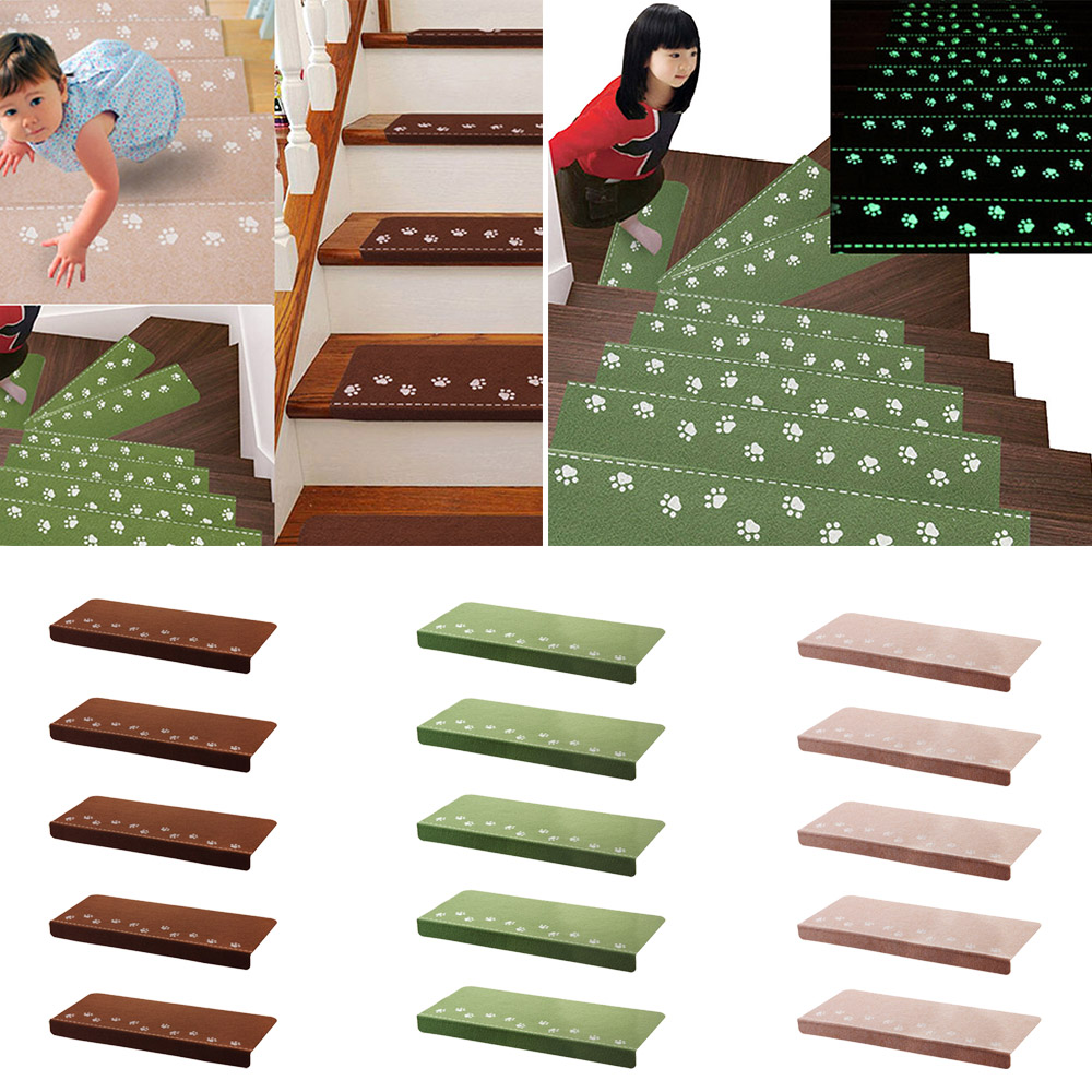 NC 13Pcs Home Luminous Self-adhesive Non-slip Floor Staircase Carpets Bear Claw Pattern Glow In Dark Stair Treads Protector Mats