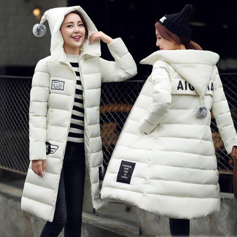 Uzun Aşağı Parkas Kadınlar 2016 Için Sıcak Kış Ceketler Ve Mont Mektup Cepler Ile Kalınlaşma Pamuk Yastıklı Kapşonlu Kadın Dış Giyim