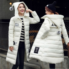 Long Down Parkas For Women 2016 Warm Winter Jackets And Coats With Letter Pockets Thickening Cotton Padded Hooded Female Outwear