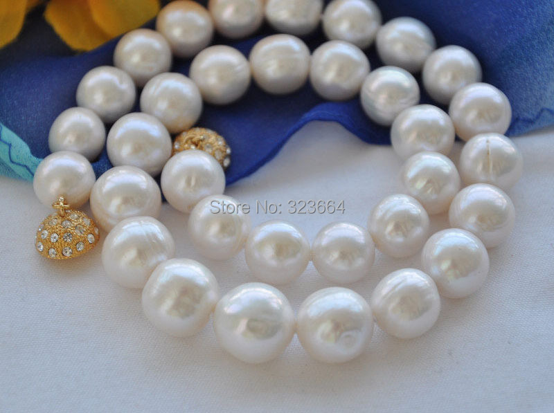 купить Charming Big 15mm white round Freshwater cultured pearl necklace 17inch недорого