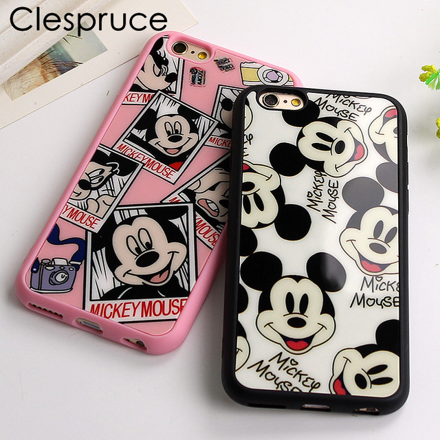 Clespruce Mickey Mouse black Silicone Phone Cover Mirror back Case For Apple iPhone 8 8plus 7 7Plus 6 6S plus 5 5S SE Capa Coque