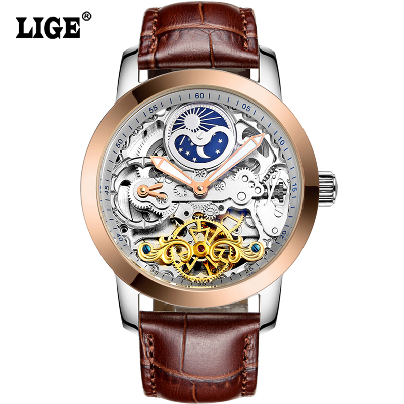 LIGE Tourbillon Mens Watches Relogio Masculino Top Brand Luxury Gold Men Watch Automatic Mechanical Leather Wristwatches mens watches top brand luxury lige 2017 men watch sport tourbillon automatic mechanical leather wristwatch relogio masculino