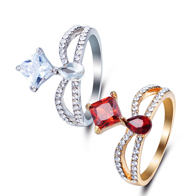Goinhot 1pcs Fashion Jewelry Gold Silver Rings For Women Gift Engagement Wedding Luxury Foreign Trade Hot