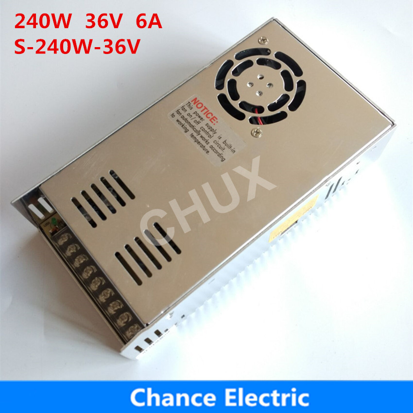 36 Volt 240W 110V 220V AC to 36V DC 6A 240W single output for LED Strip free shipping Switching Power Supply allishop 300w 48v 6 25a single output ac 110v 220v to dc 48v switching power supply unit for led strip light free shipping