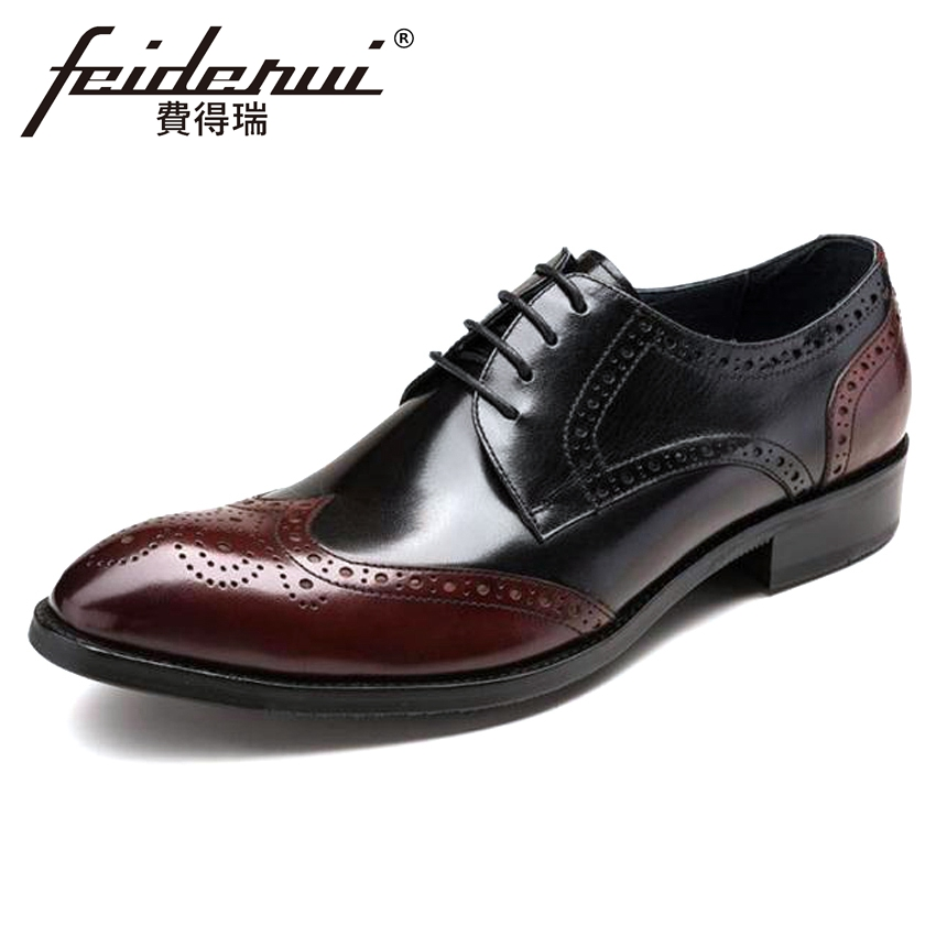Luxury British Designer Genuine Leather Men's Handmade Oxfords Pointed Toe Carved Man Formal Dress Wedding Brogue Shoes YMX253 цена и фото