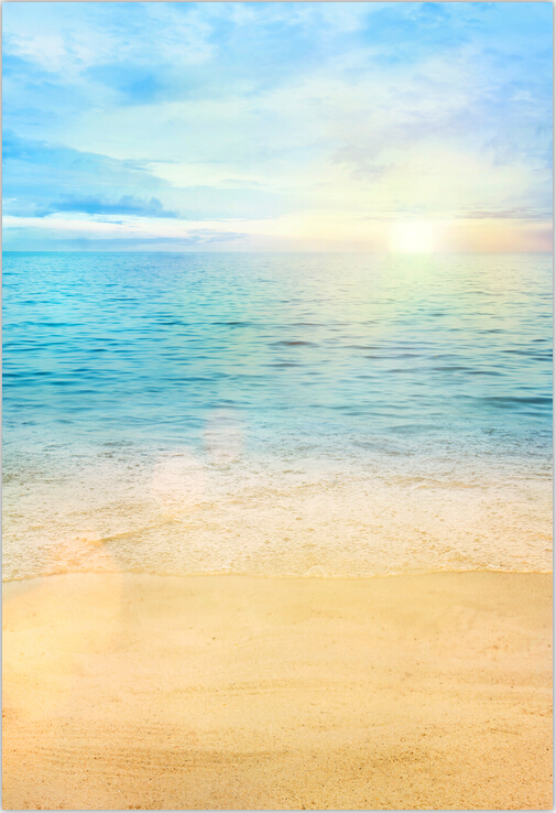 5X7ft Sunset Sky Light Blue Sea Island Wave Sand Beach Summer Custom Photography Backgrounds