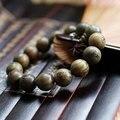 Мода Естественный Зеленый сандалового дерева 15 мм Большие Шарики Резные Будда Браслет Мужчины/Женщины Подарков Оптовая Тибет Ювелирные Изделия Религия Шарм