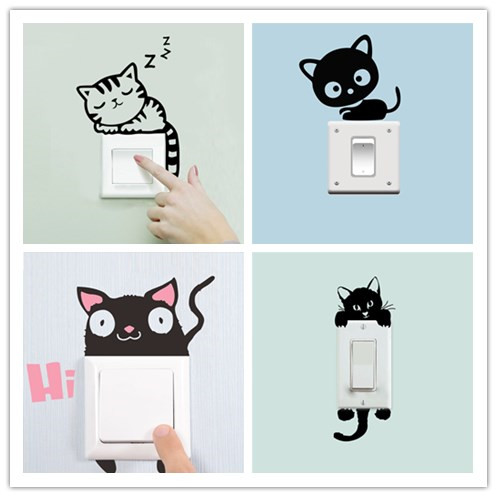 Funny Black Sleeping Hi Cat Toilet Switch Sticker Cartoon Plane Switch Decor Children Home Decor Decals Wall poster Mural