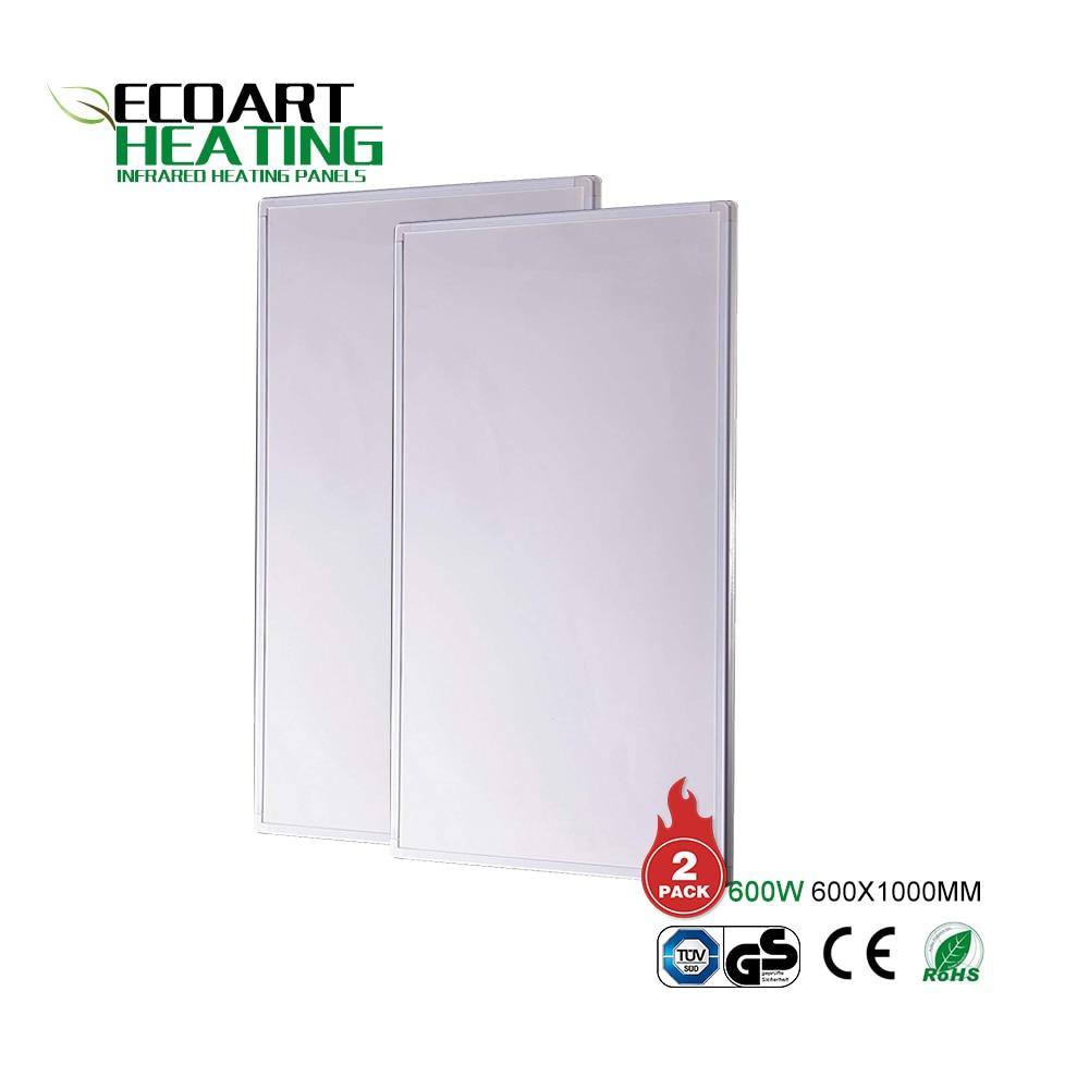 Venta al por mayor Panel de calefacción infrarrojo lejano superdelgado 2 paquetes de calentador de Panel montado en la pared de 600W