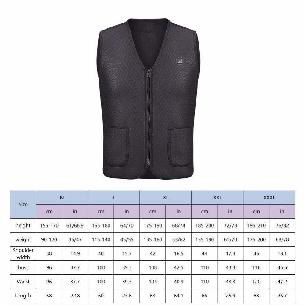 Chart size Heated Vest