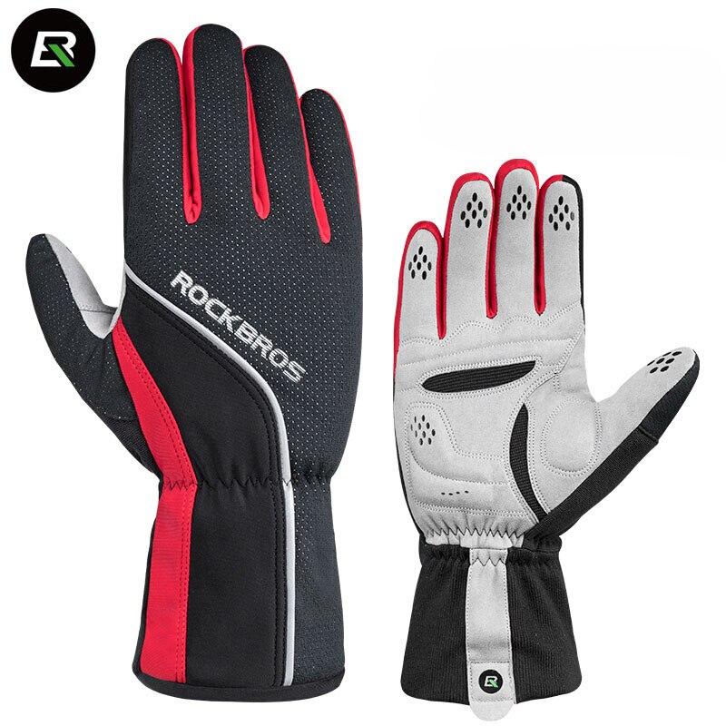 Rockbros Winter Cycling <font><b>Gloves</b></font> -5 Degrees Celsius Full Finger Thermal Fleece Windproof Bike Bicycle <font><b>Gloves</b></font> Hiking Ski <font><b>Gloves</b></font>