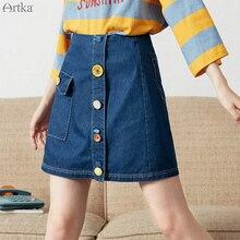 ARTKA 2019 Summer Women Denim Skirt High Quality Solid Color Casual A-line Skirt Lady Button Pocket Design Mini Skirts QN10094C цена