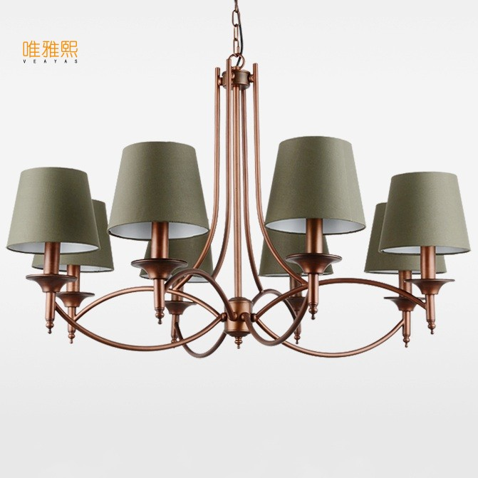 Veayas led lights for home lustre white Fabric lampshade chandelier iron modern chandeliers american style lighting fixture