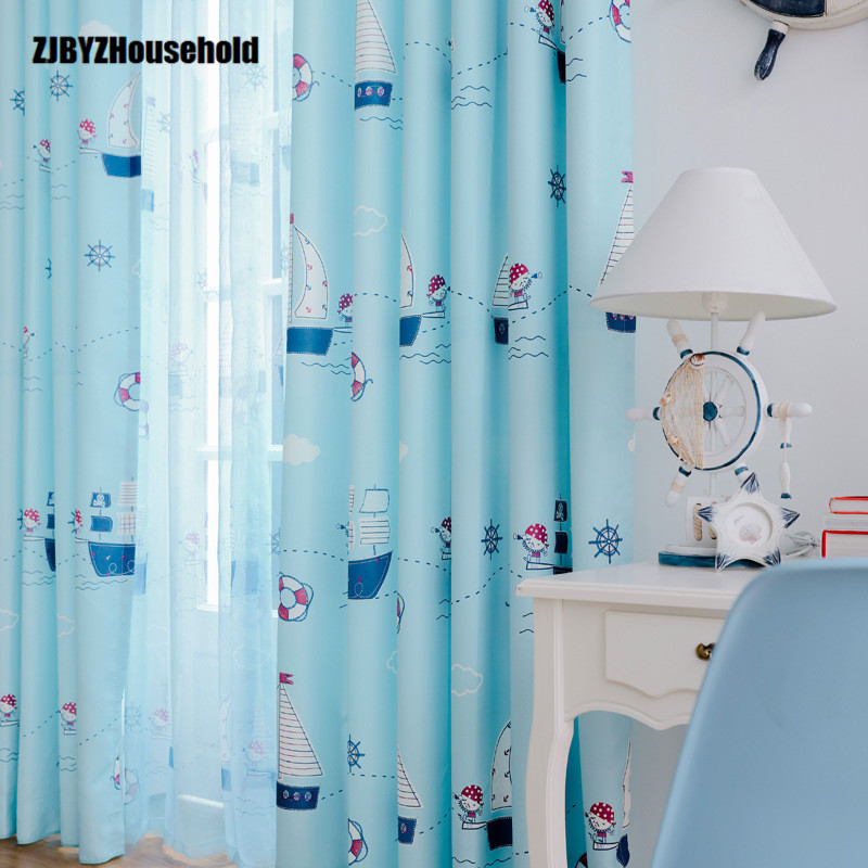 Kids Curtains For Bedroom Window Cartoon Mediterranean Boy Children's Room Half-shading Pirate Captain Finished Curtain